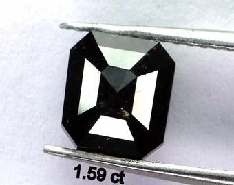 1.59 Ct Natural Loose Diamond Cut Emerald Shape Black Color L703