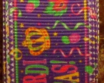 "2 Yards 7/8"" Mardi Gras Party Print Grosgrain Ribbon"