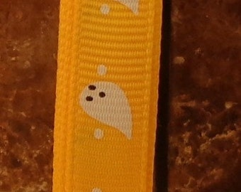 "2 Yards 3/8"" Yellow Gold with White Ghost Halloween Print Grosgrain Ribbon"