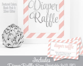 Printable Diaper Raffle Tickets & Sign for Girl Baby Shower, Blush Pink Silver Glitter Baby Shower Game Ideas, Bring A Pack of Diapers Cards