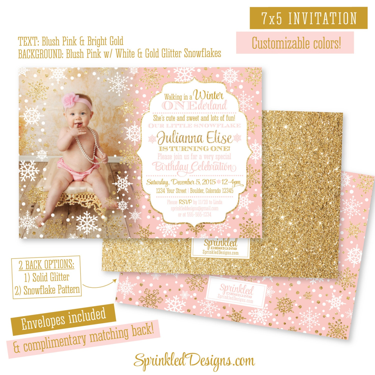 Winter ONEderland Invitation Girl Photo Card Blush Pink Gold