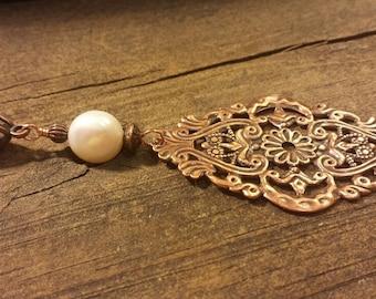 Pendant Necklace, Copper Necklace, Boho Necklace, Metal Necklace, Copper Filigree Necklace