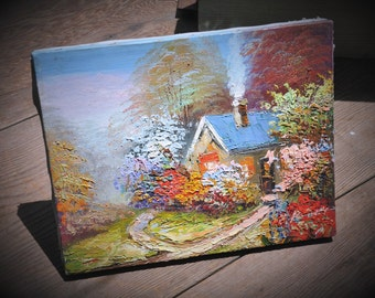 "Vintage Oil Painting, Original, Signed, 8"" x 10"" Impressionistic Art, Landscape, Secret Flower Garden, English Cottage, Shabby Chic!"