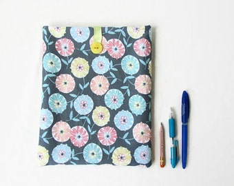 Grey flower Ipad cover, 10 inch tablet case, fabric tablet sleeve, fabric IPad case, gift for teen, Samsung galaxy 10, handmade in the UK