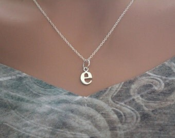 Sterling Silver Lowercase E Initial Charm Necklace, E Initial Necklace, Large E Letter Necklace, E Necklace, Typewriter E Initial Necklace