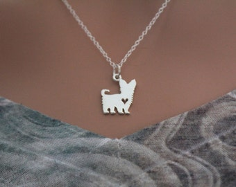 Sterling Silver Yorkshire Terrier Dog Charm Necklace, Yorkshire Terrier Dog Necklace, Silhouetted Yorkshire Terrier Dog Charm Necklace