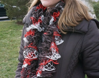 Sashay Scarf Brown, Brick-Red and White with Glitter - Handmade in South Africa! Buy 2  and get free shipping in Canada
