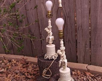 Pair L & L Hollywood Regency Cherub Angel Lamps with Night Light Bottom 8317