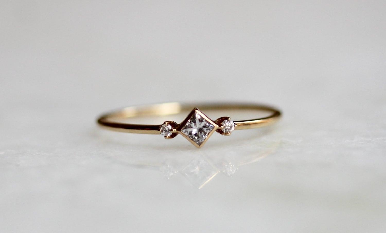 14k Square Diamond Ring Diamond Shape Ring Daint Engagement