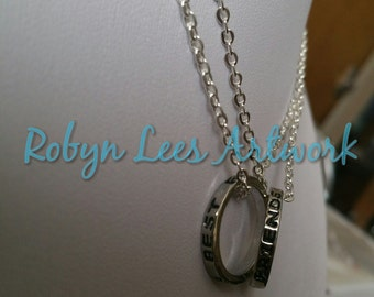 Small Silver Best Friends Ring Necklace Set of 2 Necklaces on Silver Crossed Chain