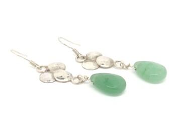Aventurine earrings ~ Gemstone jewelry ~ Green aventurine ~ Dangle earrings ~ Silver earrings ~ Dome drop earrings ~ Aventurine jewelry