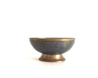Vintage Brass and Enamel Pedestal Bowl