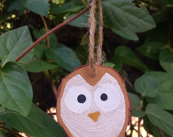 Owl Wood Slice Ornament- small