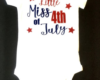 Little Miss 4th of July Baby Bodysuit, 4th of July Baby Bodysuit