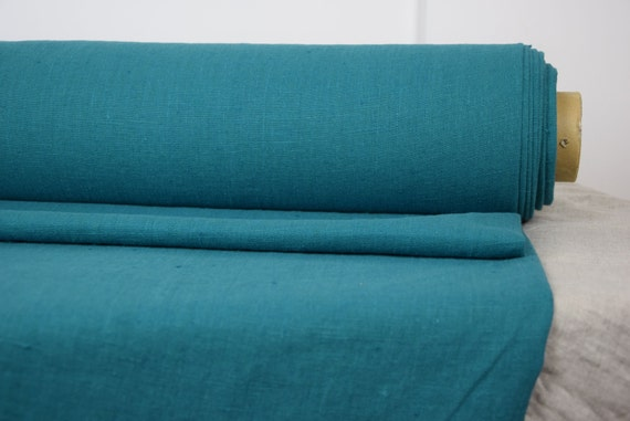 Pure 100% linen fabric by metre. Bright teal-blue-green color. Heavy ...