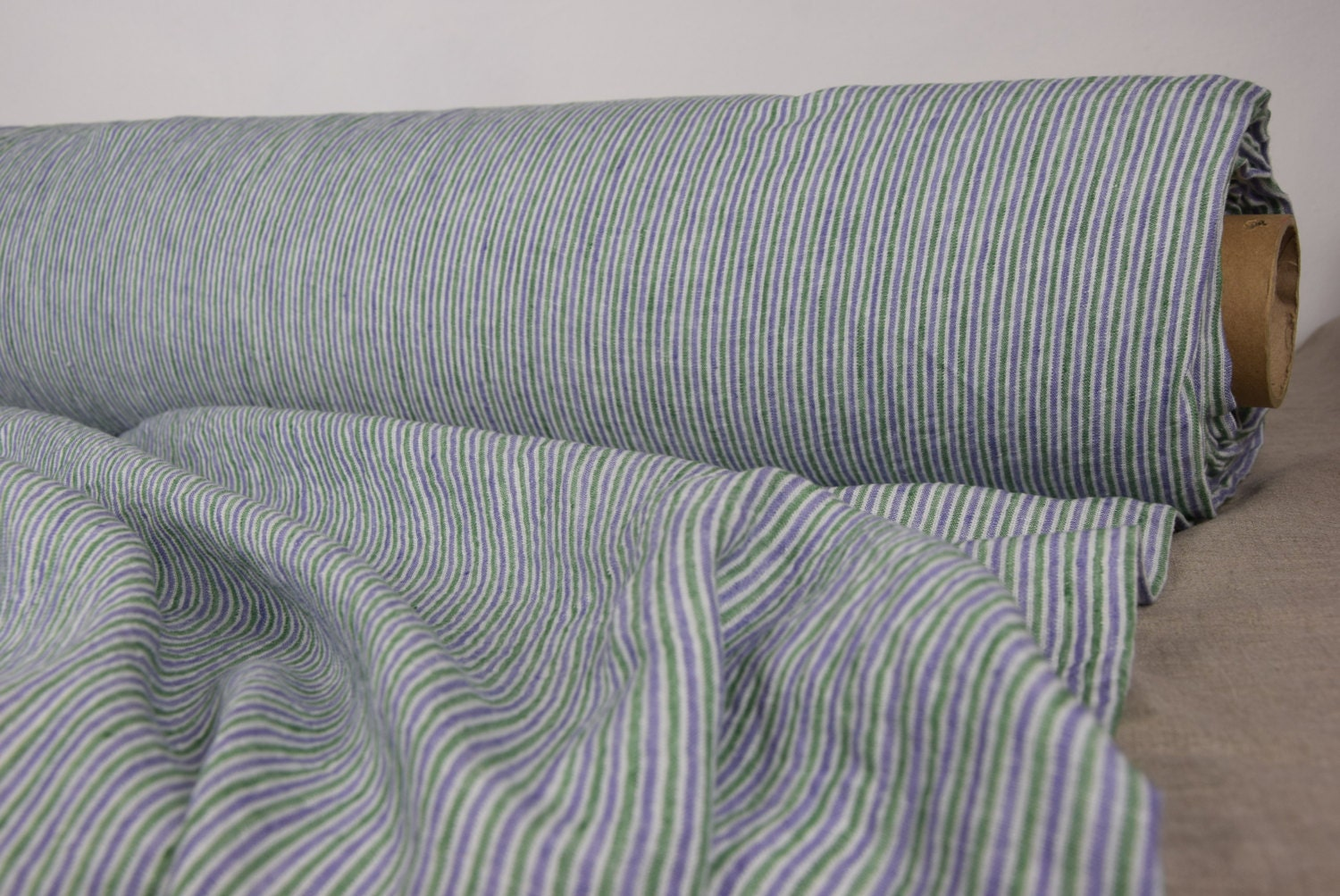 Pure 100% linen fabric 160gsm. Off-white green