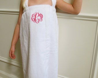 Girls Towel Wrap-- Bathing Suit Cover Up Comes in White and Pink