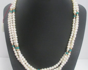 Fresh Water Cultured Pearl ( 4.08 mm mm- 5.27 mm Approx ) 3 Strand Necklace w/Gilt Metal Beads & 15 Stone Beads.