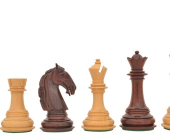 Handmade Triple Weighted Wooden columbian chess set Bud Rose Wood 4 queens. SKU: D0155