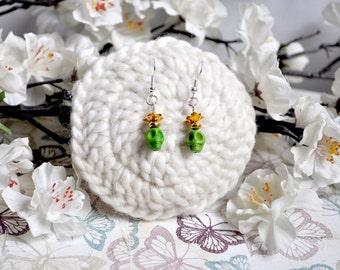 Green sugar skull earrings, day of the dead earrings, skull charm earrings,  sugar skull jewellery, rose earrings, dia de los muertos