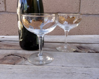 Vintage 2  Coupe Champagne Glasses, Gold Leaf Design, Hollywood Regency, Toasting Glasses, Wedding Glasses