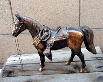 Vintage Copper Horse Figurine Carnival Prize Toy Collectibles Pot Metal Animal Statue Equestrian Western Cowboy Retro Home Decor Trophy