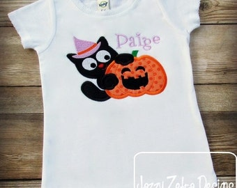 Cat with Jack-o-lantern 110 Appliqué Embroidery Design - Halloween appliqué design - cat appliqué design - pumpkin appliqué design