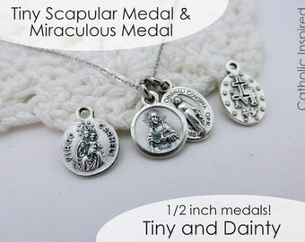 Tiny Scapular & Miraculous Medal - Stainless Steel Chain - Our Lady Necklace Mount Carmel Sacred Heart - Mini Dainty Small Simple Catholic