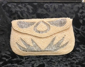 1940's Beaded Clutch Purse, Sarne of California, Vintage 40's Hand Beaded Purse, 1940's Cream and Silver Beaded Clutch, 1940's Bridal Clutch