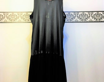 Rare 1950's Sheer Black Nightgown with Pleated Skirt, Vintage Negligee, Size 2X, Size 1X, Plus Size Pin Up Lingerie, 50's Does 20's Lingerie