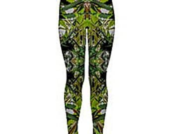Yoga Leggings:Cannabis Leggings in Light Blueberry Marijuana Print, Weed Leggings,Ganja Leggings, Marijuana Leggings-Made to Order