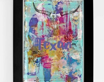 Texan- Digital download art print  4 x 6- Texan, Texas