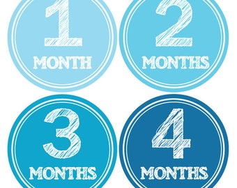 Baby Boy monthly stickers, Miletsone stickers, Photo growth stickers, Bodysuit monthly stickers, Baby month stickers, Blue stickers A121