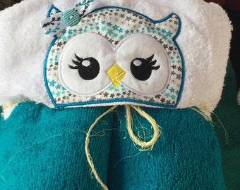 Teal Owl Hooded Towel, Girls hooded towel