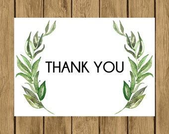 Olive Branch Thank You Cards, Printable Thank You Cards, Digital Thank You Cards, Instant Download, 013