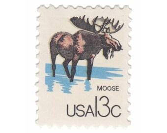10 Unused Vintage US Postage Stamps - 1978 Canadian Wildlife Series - 13c Moose - Item No. 1757e