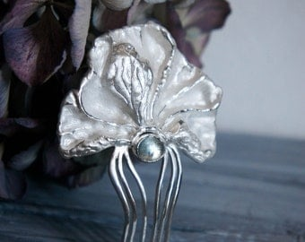 Peony hair comb with blue topaz, sterling silver hair comb, wedding hair comb, bridal hair accessory, flower hair pin, wedding gift, unique