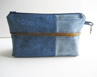 modern denim pouch,  zippered denim pouch, jeans bag, imitation leather accents, repurposed denim pouch, recycled jeans bag, reused denim