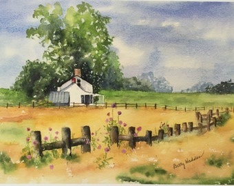 Landscape, rural scene, Virginia Countryside, Print from original watercolor