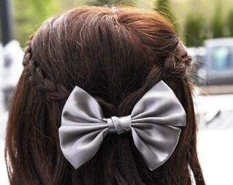 Gray Big Bow Hair Clip