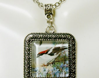 Red and white bird on a limb pendant with chain - BAP02-004