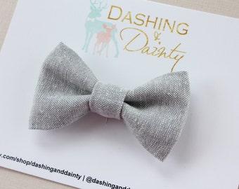 Gray Chambray Bow Tie, Gray Linen Bow Tie, Gray Bow Tie, Chambray bow tie, Baby Bow Tie, Toddler Bow Tie, Kids Bow Tie