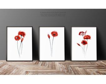 Red Poppies Set of 3 Art Prints, Meadow Flower Girls Room Decor, Abstract Flowers Mother's Day Gift Idea, Red Poppy Watercolor Painting