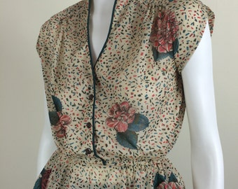 sheer floral peplum top 70s