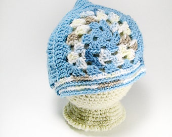 Crocheted Baby hat - pixie hat - ready to ship - elvin hat - baby hat - baby photo prop - newborn photos - photography prop - soft baby hat