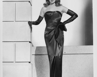 Gown - Rita Hayworth - Gilda Inspired Black Satin evening Gown