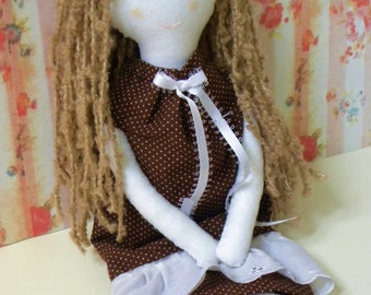 Prairie Doll / brown hair /dress / soft plush / rag doll