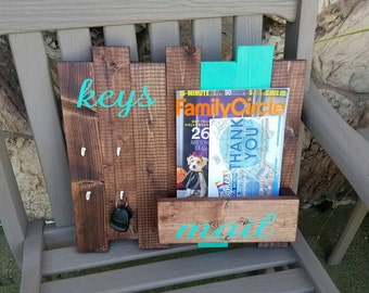 Rustic key hook holder, key and mail organizer, wood mail holder