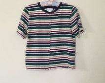 90's Fashion Striped Multicolored Retro Style Button-Down Cardigan - Small