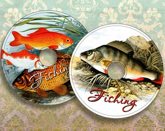 FISHING - Printable CD/DVD Labels Download Digital Collage Sheet  - Print and Cut